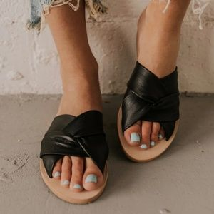 Free People Rio Vista Leather Slides, NIB